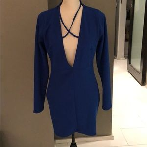 Misguided Cobalt blue cross front bodycon dress